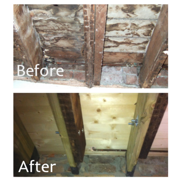 Joist Bolting Set - Before and after use.