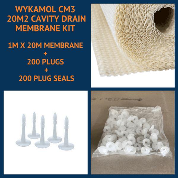Wykamol CM3 20m2 Cavity Drain Membrane Kit with plugs and plug seals