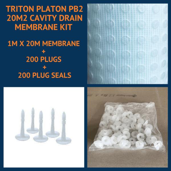Triton Platon PB2 20m2 Cavity Drain Membrane Kit with plugs and plug seals
