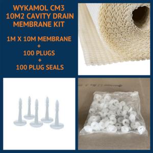 Wykamol CM3 10m2 Cavity Drain Membrane Kit with plugs and plug seals