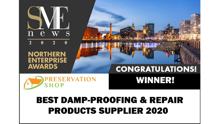 Preservation Shop - SME News award for best Damp-proofing and Repair products supplier 2020.